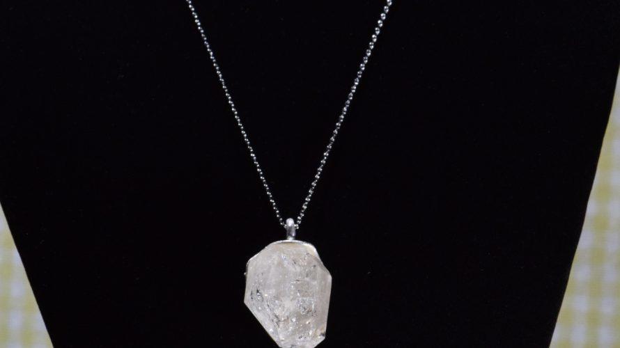 大きめの原石水晶ペンダントトップdc324